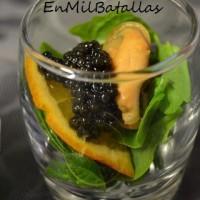 Vasitos de mejillón y caviar