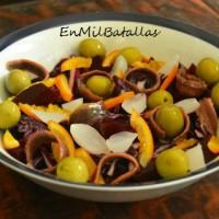 Ensalada de anchoas con naranja