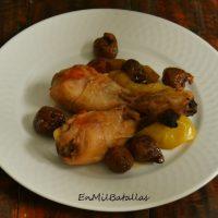 Pollo guisado con higos y manzanas